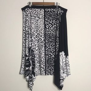 Chico's Black/White Floral Animal Print Skirt 3
